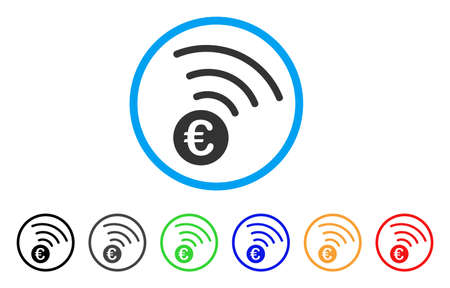 Euro Announce rounded icon. Style is a flat euro announce grey symbol inside light blue circle with black, gray, green, blue, red, orange color versions.