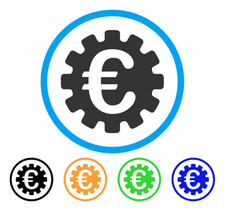 install: Euro Gear icon. Vector illustration style is a flat iconic euro gear grey rounded symbol inside light blue circle with black, green, blue, yellow color versions.