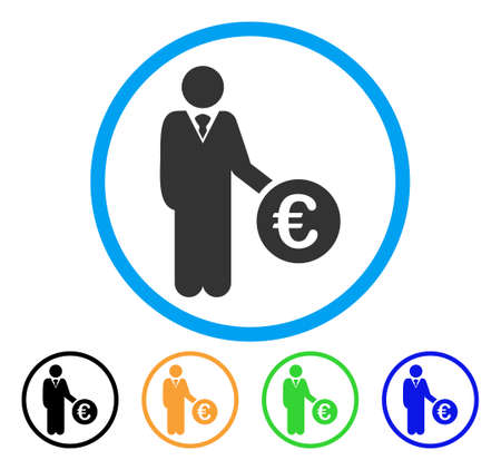 investor: Euro Investor icon. Vector illustration style is a flat iconic euro investor gray rounded symbol inside light blue circle with black, green, blue, yellow color variants.