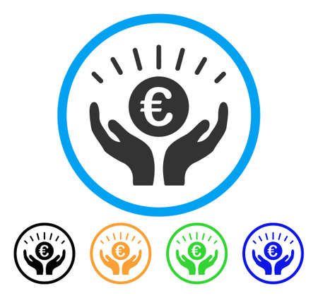 cash: Euro Prosperity icon. Vector illustration style is a flat iconic euro prosperity grey rounded symbol inside light blue circle with black, green, blue, yellow color versions. Illustration