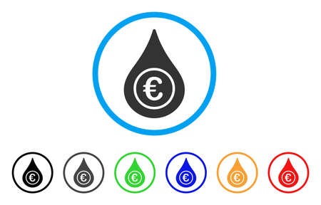 Euro Liquid Drop rounded icon. Style is a flat euro liquid drop grey symbol inside light blue circle with black, gray, green, blue, red, orange variants.