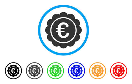 seal of approval: Euro Reward Seal rounded icon. Style is a flat euro reward seal gray symbol inside light blue circle with black, gray, green, blue, red, orange versions. Illustration
