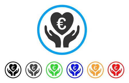 Euro Care Hands rounded icon. Style is a flat euro care hands gray symbol inside light blue circle with black, gray, green, blue, red, orange color versions.