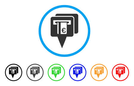 cash: Euro ATM Pointers rounded icon. Style is a flat euro ATM pointers grey symbol inside light blue circle with black, gray, green, blue, red, orange variants.