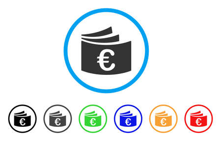 Euro Checkbook rounded icon. Style is a flat euro checkbook grey symbol inside light blue circle with black, gray, green, blue, red, orange color versions.