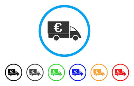cash: Euro Collector Car rounded icon. Style is a flat euro collector car grey symbol inside light blue circle with black, gray, green, blue, red, orange variants. Illustration