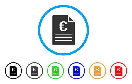Euro Document rounded icon. Style is a flat euro document grey symbol inside light blue circle with black, gray, green, blue, red, orange versions. Vector designed for web and software interfaces. Illustration