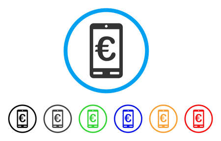 mobile communication: Euro Mobile Bank rounded icon. Style is a flat euro mobile bank grey symbol inside light blue circle with black, gray, green, blue, red, orange variants.