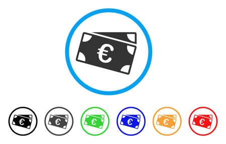 cash: Euro Banknotes rounded icon. Illustration