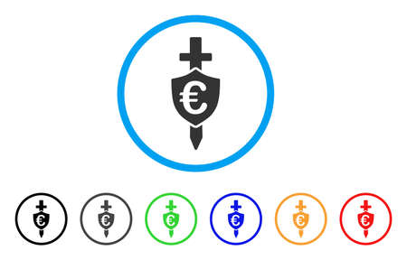 Euro Shield rounded icon. Style is a flat euro shield grey symbol inside light blue circle with black, gray, green, blue, red, orange color versions. Vector designed for web and software interfaces. Ilustração