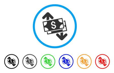 Banknotes Spending rounded icon. Style is a flat banknotes spending grey symbol inside light blue circle with black, gray, green, blue, red, orange color versions. Illustration