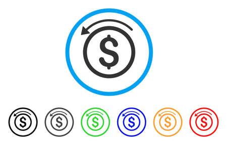 丸いアイコンを返金いたします。スタイルは、黒、グレー、緑、青、赤、オレンジ色のバリエーションを持つ光の青い円の中フラット払い戻し灰色