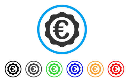 seal of approval: Euro Award Seal rounded icon. Style is a flat euro award seal gray symbol inside light blue circle with black, gray, green, blue, red, orange color versions.