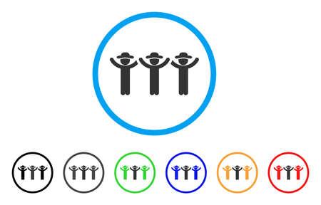 Gentlemen Hands Up Roundelay rounded icon. Style is a flat gentlemen hands up roundelay gray symbol inside light blue circle with black, gray, green, blue, red, orange variants. Illustration