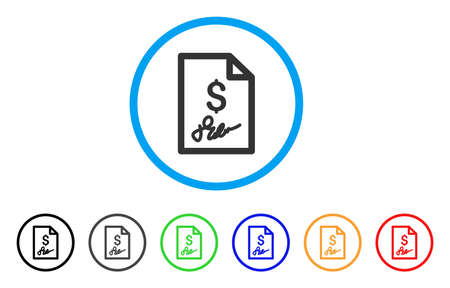 indent: Invoice Page rounded icon. Style is a flat invoice page gray symbol inside light blue circle with black, gray, green, blue, red, orange versions. Vector designed for web and software interfaces.