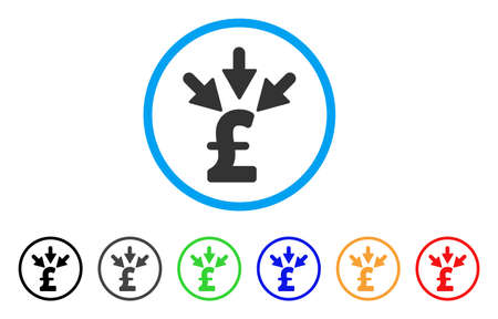 Aggregate Pound Payment rounded icon. Style is a flat aggregate pound payment grey symbol inside light blue circle with black, gray, green, blue, red, orange color versions.