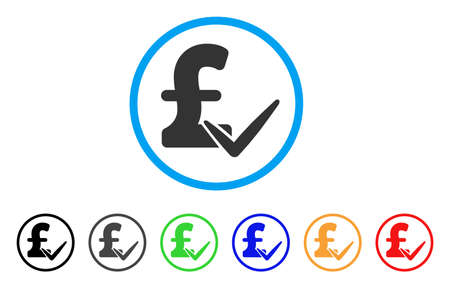 Accept Pound rounded icon. Style is a flat accept pound grey symbol inside light blue circle with black, gray, green, blue, red, orange variants. Vector designed for web and software interfaces.