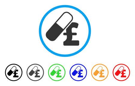 pharmacy symbol: Medication Pound Business rounded icon. Style is a flat medication pound business grey symbol inside light blue circle with black, gray, green, blue, red, orange color versions.