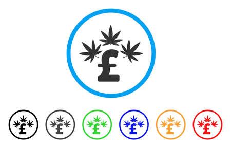 pharmacy symbol: Cannabis Pound Business rounded icon. Style is a flat cannabis pound business grey symbol inside light blue circle with black, gray, green, blue, red, orange variants.