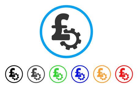 Development Pound Price rounded icon. Style is a flat development pound price gray symbol inside light blue circle with black, gray, green, blue, red, orange variants. Ilustração Vetorial