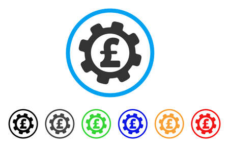 gears: Development Pound Price rounded icon. Style is a flat development pound price grey symbol inside light blue circle with black, gray, green, blue, red, orange variants.