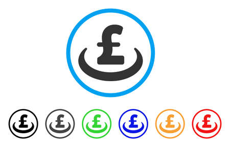 Pound Deposit Placement rounded icon. Style is a flat pound deposit placement grey symbol inside light blue circle with black, gray, green, blue, red, orange versions. Ilustração