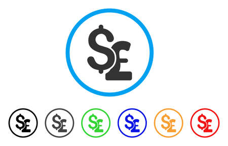 cash: Dollar And Pound rounded icon. Style is a flat dollar and pound gray symbol inside light blue circle with black, gray, green, blue, red, orange variants.