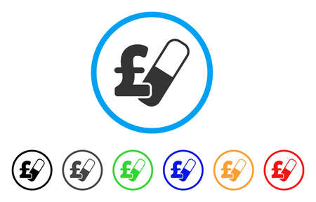 Farma Pound Business rounded icon. Style is a flat farma pound business gray symbol inside light blue circle with black, gray, green, blue, red, orange versions. Ilustrace
