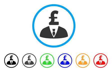 Pound Businessman rounded icon. Style is a flat pound businessman grey symbol inside light blue circle with black, gray, green, blue, red, orange variants. Illustration