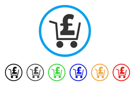 cash: Pound Cash Out rounded icon. Style is a flat pound cash out gray symbol inside light blue circle with black, gray, green, blue, red, orange versions. Vector designed for web and software interfaces.