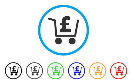 cash: Pound Checkout rounded icon. Style is a flat pound checkout grey symbol inside light blue circle with black, gray, green, blue, red, orange color versions. Illustration