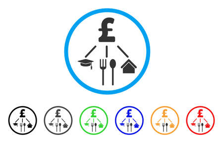 Pound Consumption Pattern rounded icon. Style is a flat pound consumption pattern gray symbol inside light blue circle with black, gray, green, blue, red, orange versions. Illustration