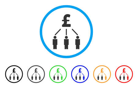 Pound Crowdfunding rounded icon. Style is a flat pound crowdfunding grey symbol inside light blue circle with black, gray, green, blue, red, orange versions.