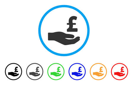 Pound Donation Hand rounded icon. Style is a flat pound donation hand gray symbol inside light blue circle with black, gray, green, blue, red, orange color versions. 向量圖像