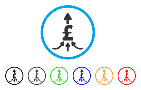 amalgamate: Unite Pound Payments rounded icon. Style is a flat unite pound payments gray symbol inside light blue circle with black, gray, green, blue, red, orange color versions. Illustration