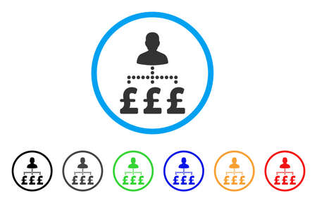 cash: User Pound Payments rounded icon. Style is a flat user pound payments grey symbol inside light blue circle with black, gray, green, blue, red, orange versions.