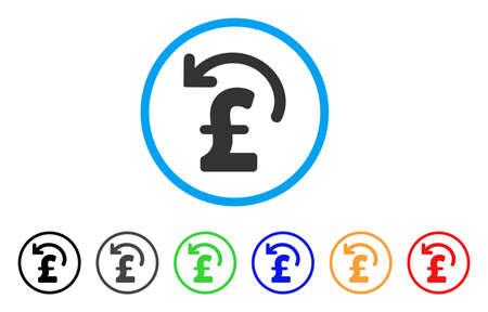 丸みを帯びたポンド支払いのアイコンを元に戻します。スタイルは、黒、グレー、緑、青、赤、オレンジのバージョンと光の青い円の中フラット元