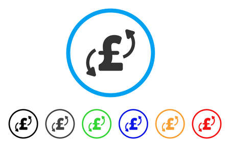 Pound Transfers rounded icon. Style is a flat pound transfers grey symbol inside light blue circle with black, gray, green, blue, red, orange versions. Vector designed for web and software interfaces.