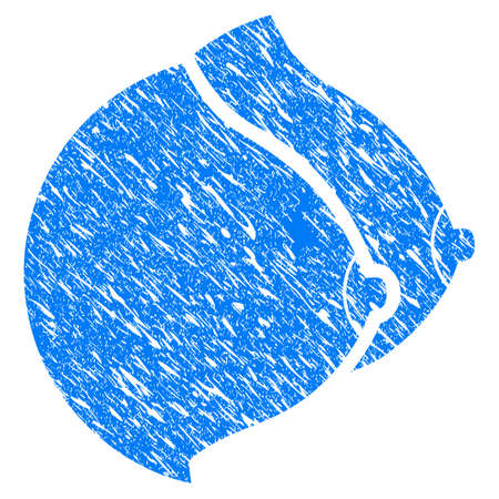 Grunge Female Tits icon with grunge design and dust texture. Unclean vector blue female pictogram for rubber seal stamp imitations and watermarks. Draft emblem symbol.