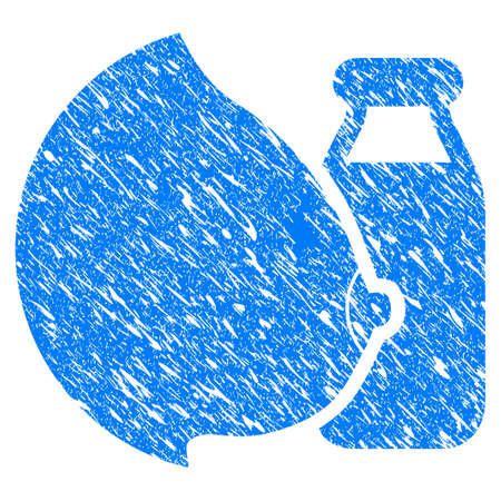 Grunge Mother Tit Milk Bottle icon with grunge design and scratched texture. Unclean vector blue mother tit milk bottle pictogram for rubber seal stamp imitations and watermarks. Draft sticker symbol.