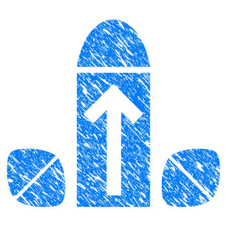 Grunge Penis Enlargement Tablets icon with grunge design and unclean texture. Unclean vector blue penis enlargement tablets pictogram for rubber seal stamp imitations and watermarks. Vettoriali