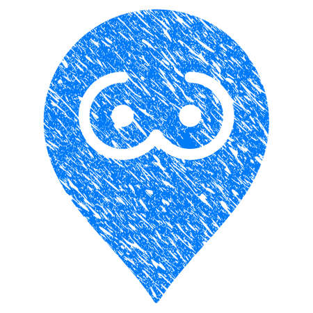 Grunge Brothel Tits Marker icon with grunge design and unclean texture. Unclean vector blue brothel tits marker pictogram for rubber seal stamp imitations and watermarks. Draft emblem symbol. Иллюстрация