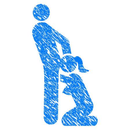 Grunge Oral Sex Personen Symbol mit Grunge Design und schmutzige Textur. Unreine Vektor blau Oralsex Personen Piktogramm für Stempel Imitationen und Wasserzeichen. Entwurf eines Aufklebersymbols.