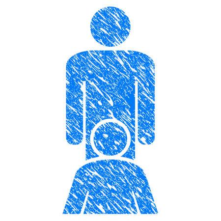 Schmutz-Oralsex-Personenikone mit Schmutzdesign und verkratzter Beschaffenheit. Unreines Vektor-Oralsex-Personenpiktogramm für Gummidichtung stempeln Nachahmungen und Wasserzeichen. Entwurf Aufkleber Symbol. Vektorgrafik