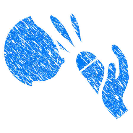 Grunge Female Breast Blowjob Ejaculation icon with grunge design and dust texture. Unclean vector blue female breast blowjob ejaculation pictogram for rubber seal stamp imitations and watermarks.