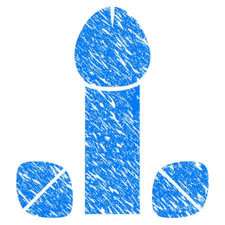 Grunge Penis Enhancement Tablets icon with grunge design and dust texture. Unclean vector blue penis enhancement tablets pictogram for rubber seal stamp imitations and watermarks. Draft sign symbol.