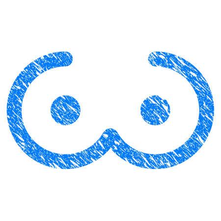 Grunge vrouwelijke borst pictogram met grunge ontwerp en onreine textuur. Onzuiver rasterblauw vrouwelijk borstpictogram voor rubberen zegel stempelimitaties en watermerken. Conceptsticker-symbool. Stockfoto