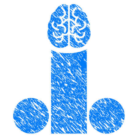 Grunge Male Penis Brain icon with grunge design and unclean texture. Unclean raster blue male penis brain pictogram for rubber seal stamp imitations and watermarks. Draft sticker symbol.