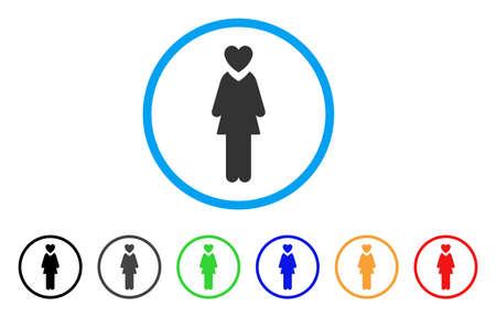Meesteres afgerond pictogram. Stijl is een plat maîtresse grijs symbool in lichtblauwe cirkel met zwarte, grijze, groene, blauwe, rode, oranje varianten. Vector ontworpen voor web- en software-interfaces.