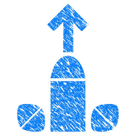 Grunge Penis Enlargement Tablets icon with grunge design and dirty texture. Unclean raster blue penis enlargement tablets pictogram for rubber seal stamp imitations and watermarks. Draft sign symbol. Stock Photo